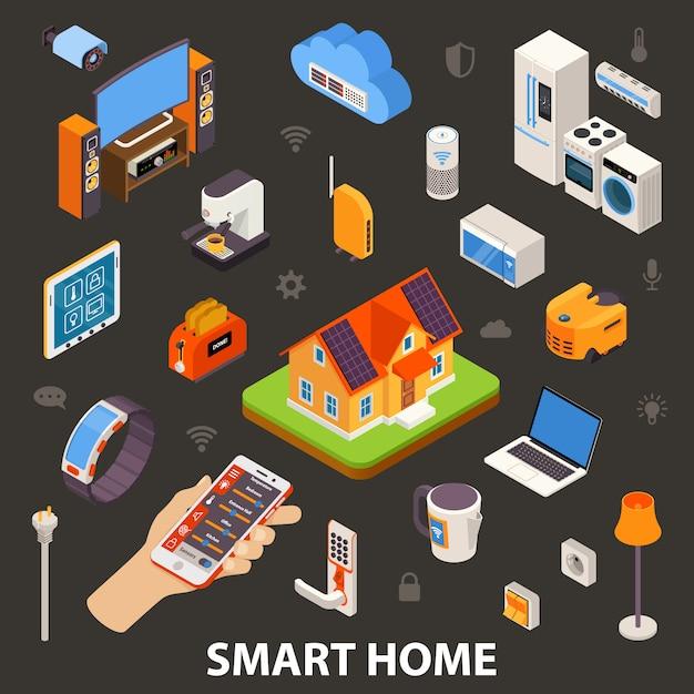 Affiche isométrique d'appareils électroniques smart home Vecteur Premium