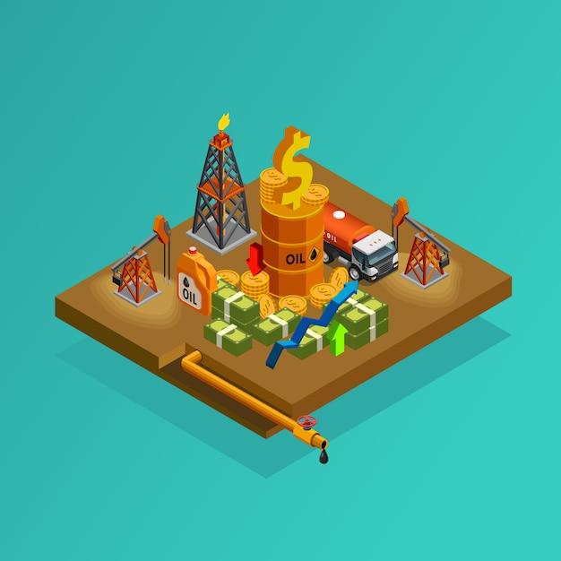 Affiche isométrique des bénéfices de la production pétrolière Vecteur gratuit