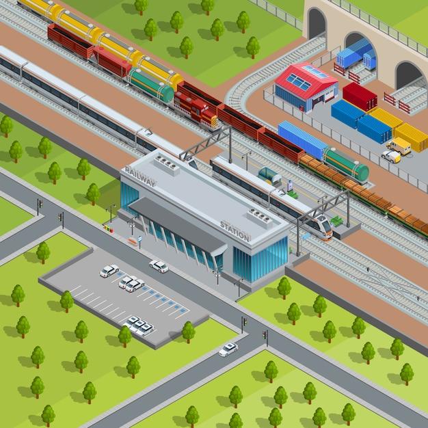 Affiche isométrique de la gare ferroviaire moderne Vecteur gratuit