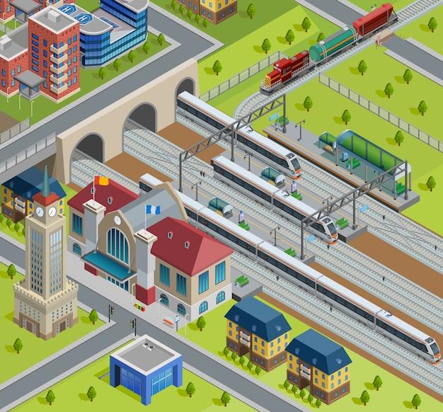 Affiche isométrique de la gare ferroviaire Vecteur gratuit