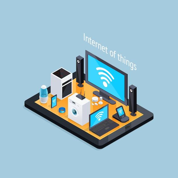 Affiche isométrique de l'internet des objets Vecteur gratuit