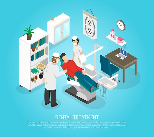 Affiche isométrique de traitement de procédure de examens dentaires Vecteur gratuit