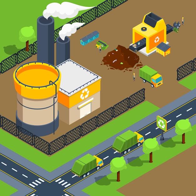 Affiche isométrique de l'usine de recyclage Vecteur gratuit