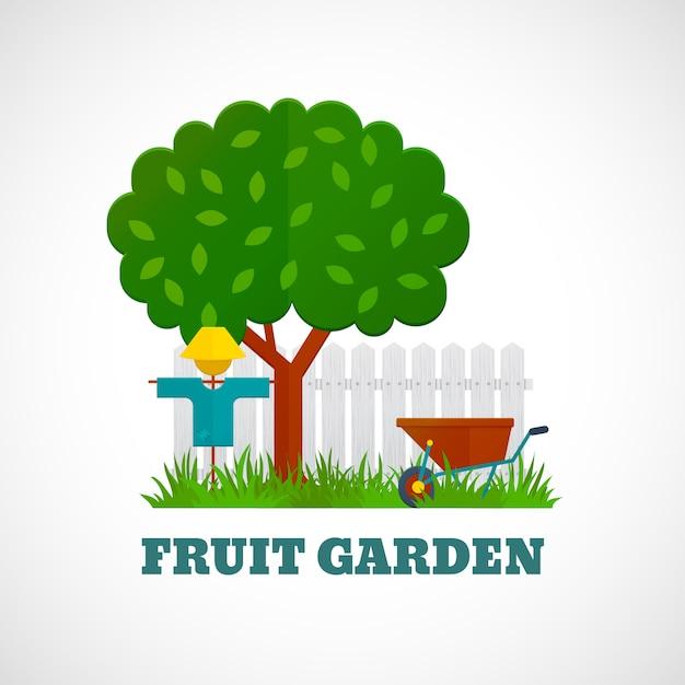 Affiche de jardin fruitier Vecteur Premium