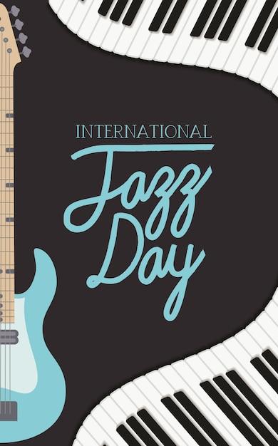 Affiche jazz day avec clavier de piano et guitare électrique Vecteur Premium