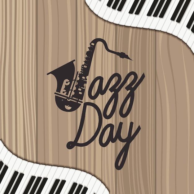 Affiche jazz day avec clavier de piano et saxophone Vecteur Premium