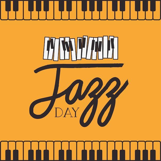 Affiche jazz day avec clavier de piano Vecteur Premium