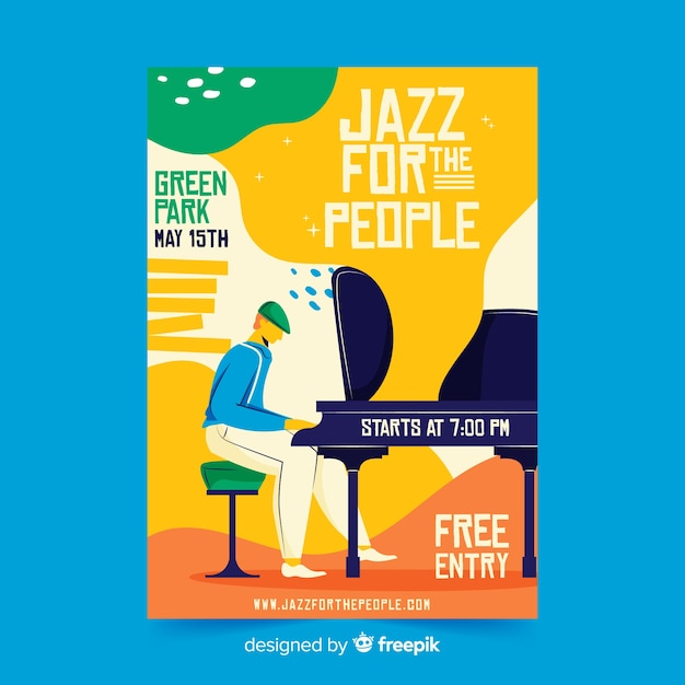 Affiche de jazz pour le peuple dessiné à la main Vecteur gratuit