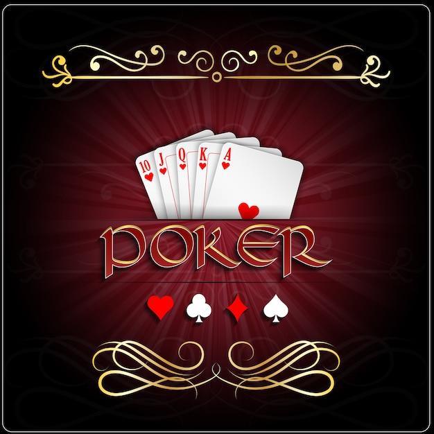 Affiche de jeu de poker avec carte coeurs royal Vecteur Premium
