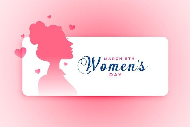 Affiche De La Journée De La Femme Avec Visage De Fille Et Coeurs Vecteur gratuit