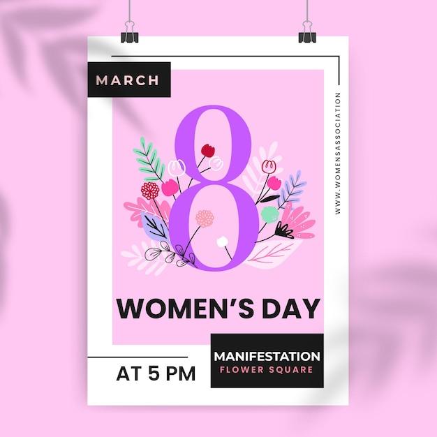 Affiche De La Journée Des Femmes Colorées Florales Vecteur gratuit