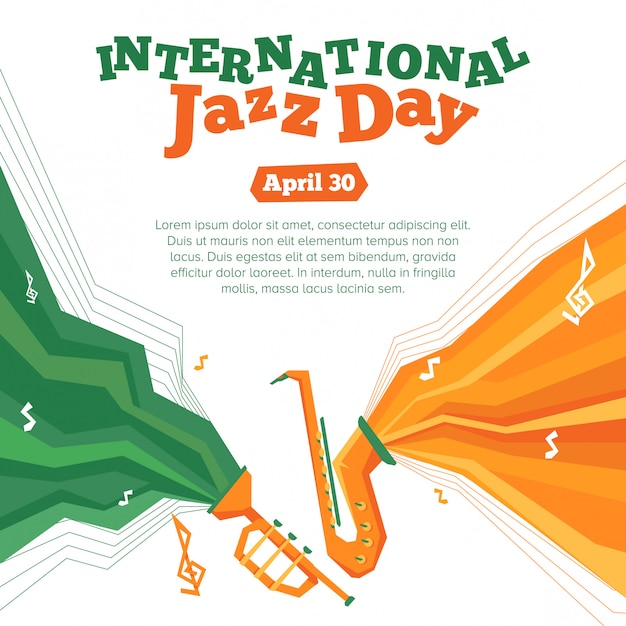 Affiche de la journée internationale du jazz Vecteur Premium