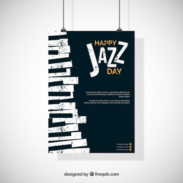 Affiche de la journée internationale de jazz au design plat Vecteur gratuit