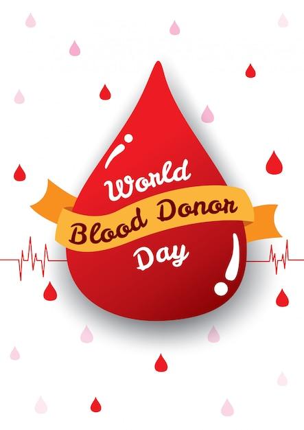 Affiche de la journée mondiale du donneur de sang Vecteur Premium