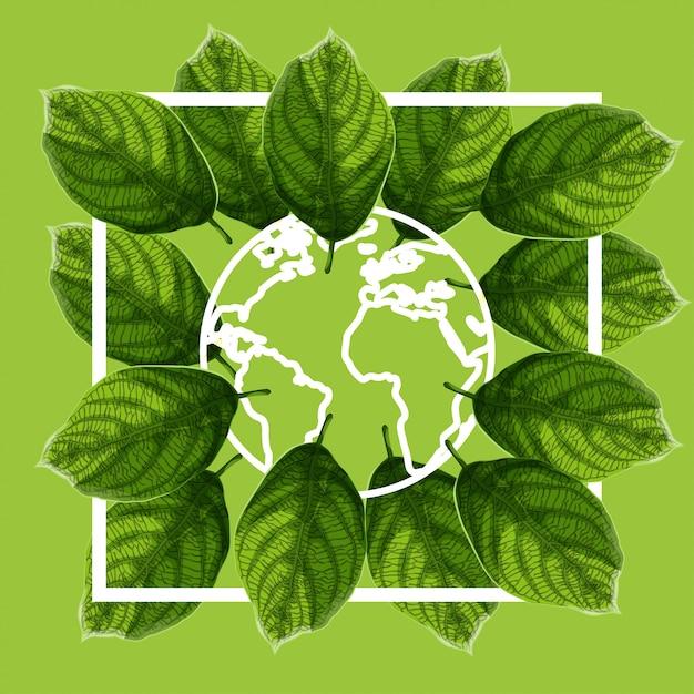 Affiche de la journée mondiale de l'environnement avec des feuilles texturisées vertes et contour du globe terrestre sur fond vert. Vecteur Premium