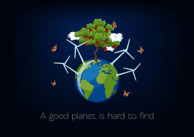 Affiche De La Journée Mondiale De L'environnement Avec La Planète Vecteur Premium