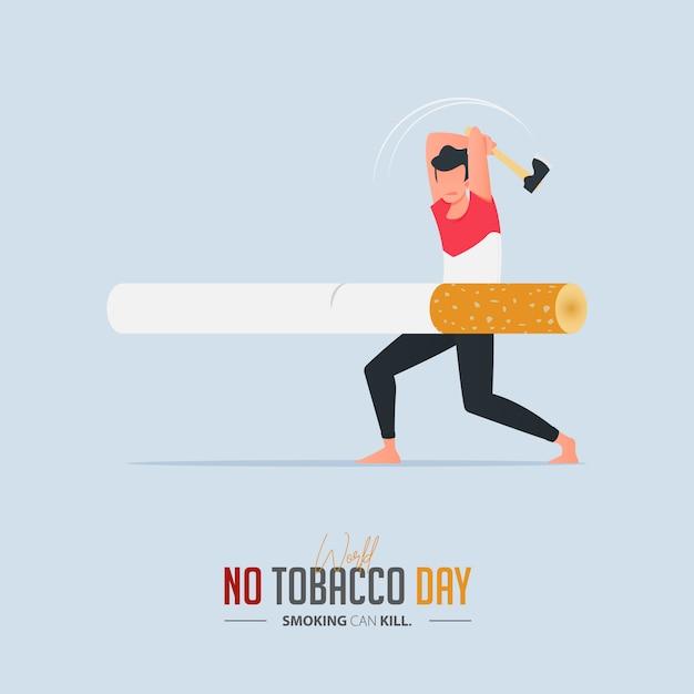 Affiche De La Journée Mondiale Sans Tabac Pour Le Concept D'empoisonnement Des Cigarettes. Vecteur Premium
