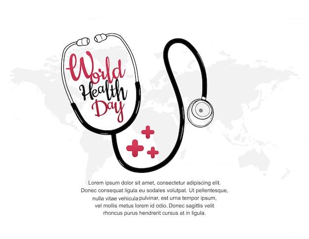 Affiche de la journée mondiale de la santé avec stéthoscope Vecteur Premium