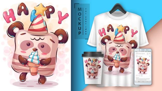 Affiche de joyeux anniversaire et merchandising Vecteur Premium