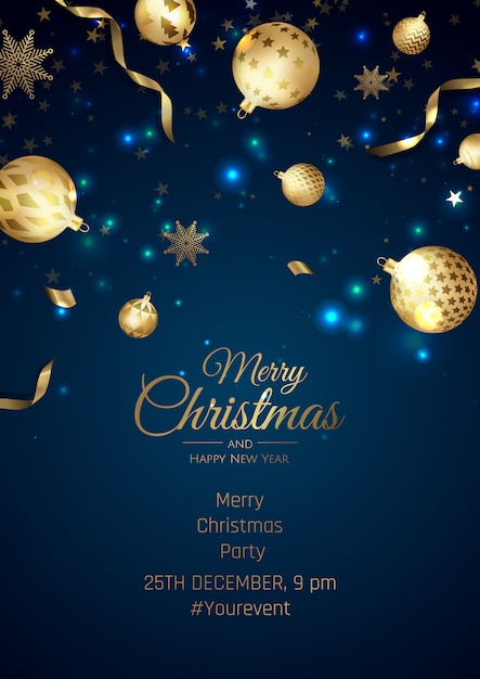 Affiche De Joyeux Noël Et Bonne Année Avec Des Flocons De Neige Et Des Boules Vecteur Premium