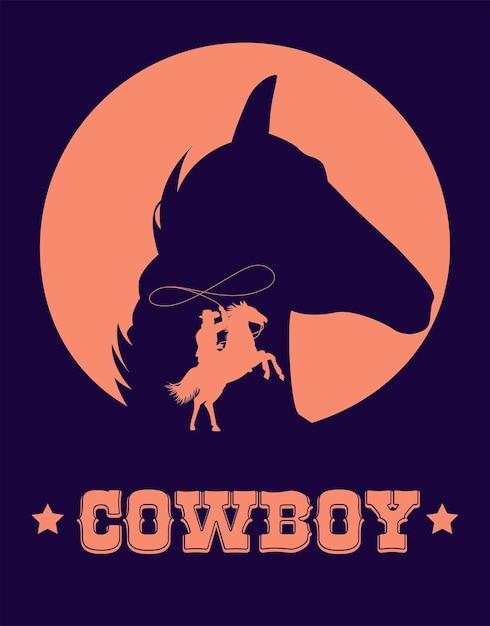 Affiche De Lettrage De Cow-boy Dans Le Far West Avec Lasso De Cow-boy Et Tête De Cheval Vecteur Premium