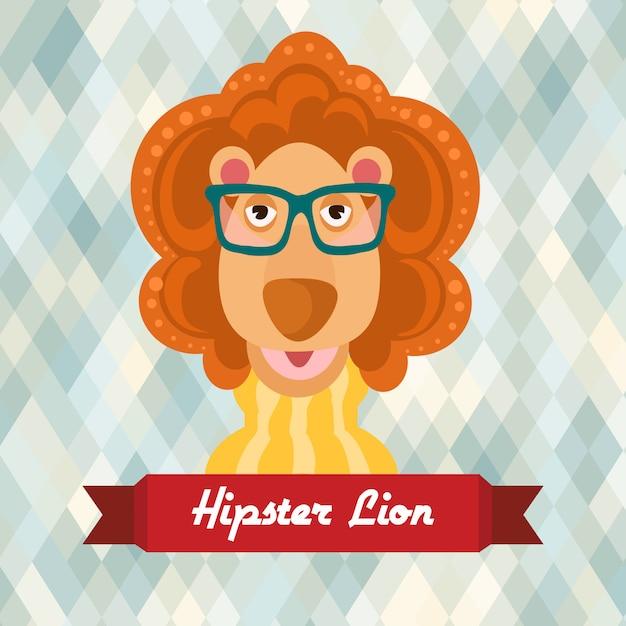 Affiche lion hipster Vecteur Premium