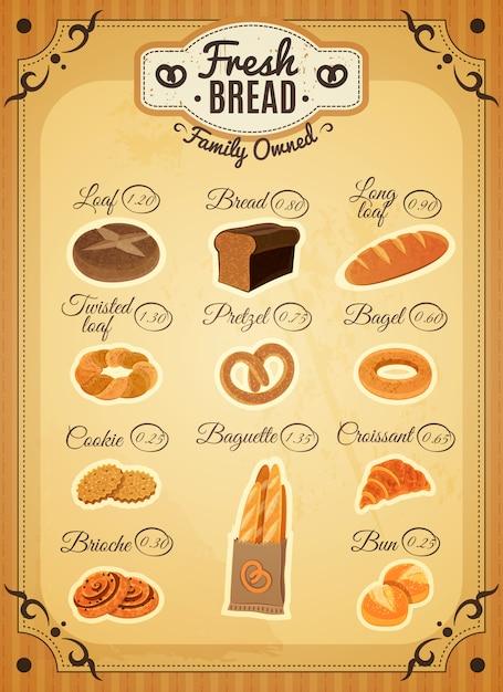 Affiche de liste de prix de boulangerie de style vintage Vecteur gratuit