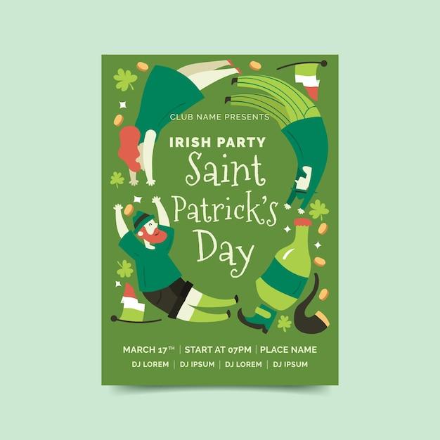 Affiche De Lutin Et De Bière St. Jour De Patrick Vecteur gratuit