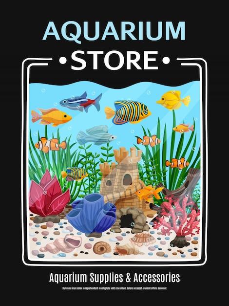 Affiche de magasin d'aquarium Vecteur gratuit