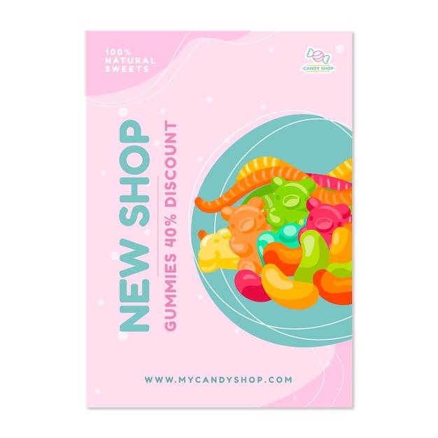 Affiche De Magasin De Bonbons Avec Des Bonbons Vecteur gratuit