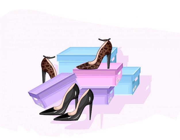 Affiche de magasin de chaussures Vecteur Premium