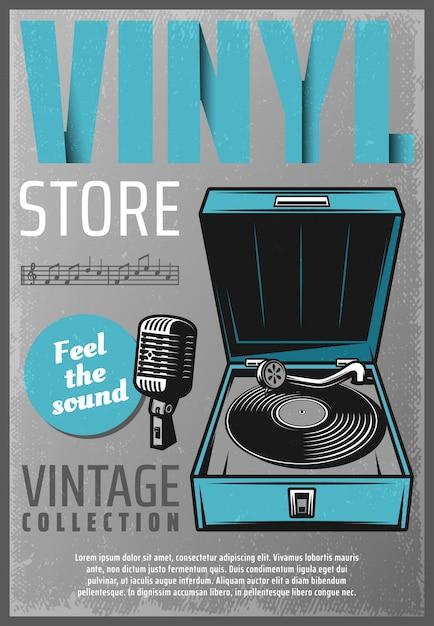 Affiche De Magasin De Musique Rétro Couleur Vintage Avec Microphone De Platine Vinyle Inscription Et Notes De Musique Vecteur gratuit
