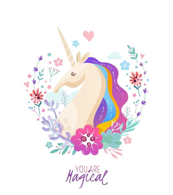 Affiche Magique Avec Portrait De Licorne Vecteur gratuit