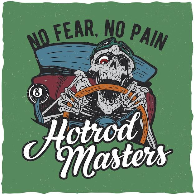 Affiche Des Maîtres Hotrod Avec Squelette Vecteur gratuit