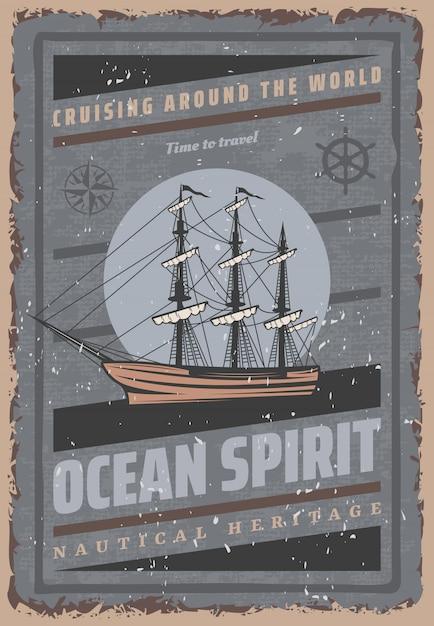 Affiche Maritime Colorée Vintage Avec Boussole De Navigation De Volant De Grand Navire D'inscription Vecteur gratuit