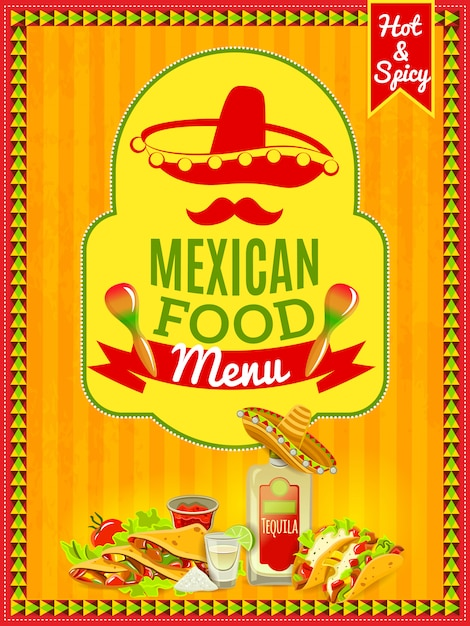 Affiche de menu de cuisine mexicaine Vecteur gratuit