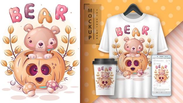 Affiche Et Merchandising De Citrouille D'halloween D'ours. Vecteur Premium