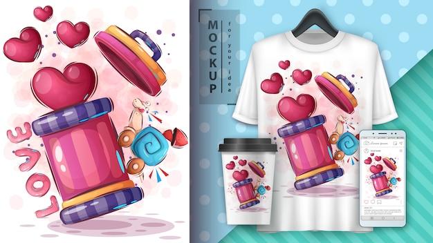 Affiche Et Merchandising Love Snail Vecteur gratuit