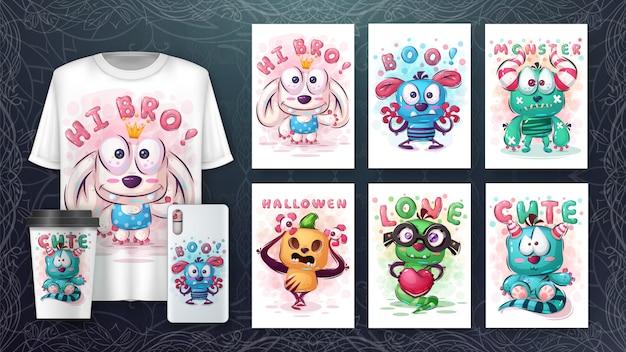 Affiche Et Merchandising De Monstre Mignon Vecteur gratuit