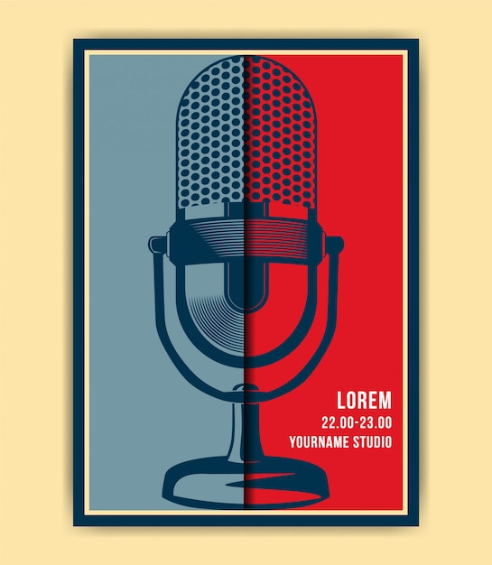Affiche De Microphone Vecteur Premium