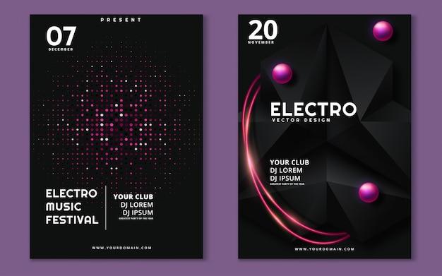 Affiche minimale du festival de musique électronique Vecteur Premium