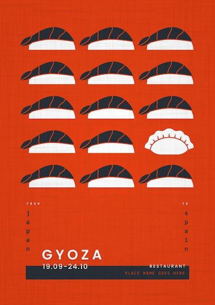Affiche De Modèle D'impression Géométrique De Nourriture Japonaise Vecteur gratuit