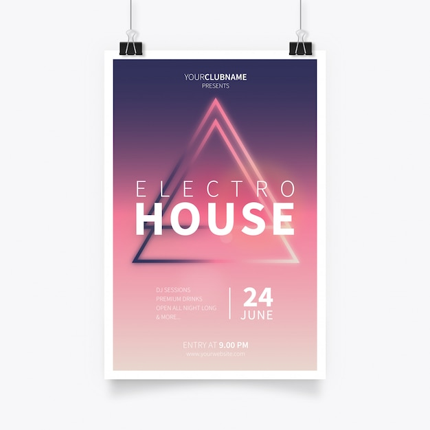 Affiche moderne electro house Vecteur gratuit