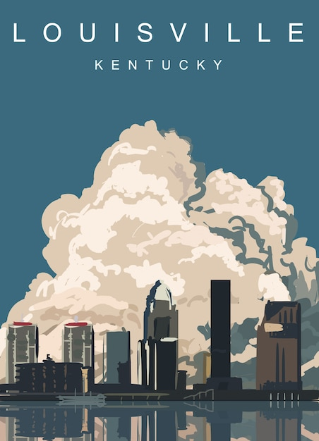 Affiche Moderne De Louisville. Louisville, Kentucky Vecteur Premium