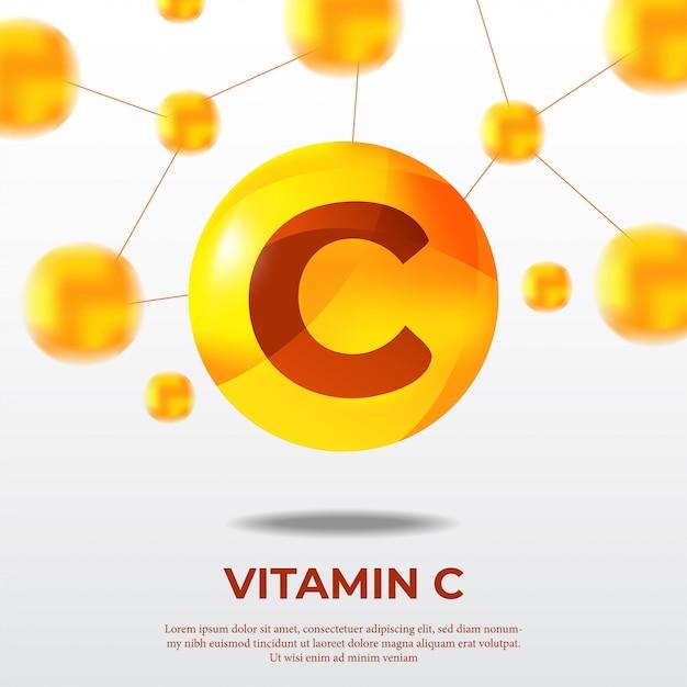 Affiche de la molécule de vitamine c balle jaune atome Vecteur Premium