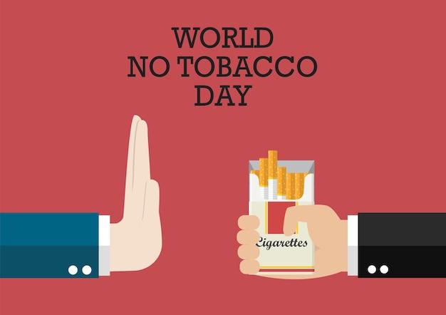 Affiche mondiale sans tabac Vecteur Premium