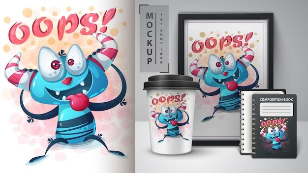 Affiche de monstre fou et merchandising Vecteur Premium