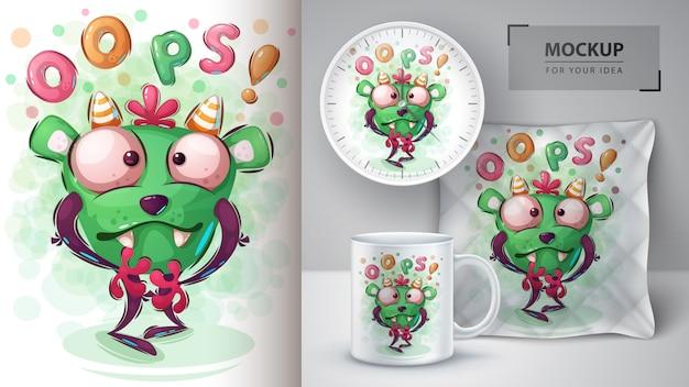 Affiche de monstre d'halloween et merchandising Vecteur Premium