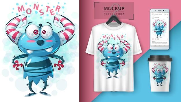 Affiche de monstre mignon et merchandising Vecteur Premium