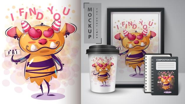 Affiche de monstre de personnage de dessin animé et merchandising Vecteur Premium
